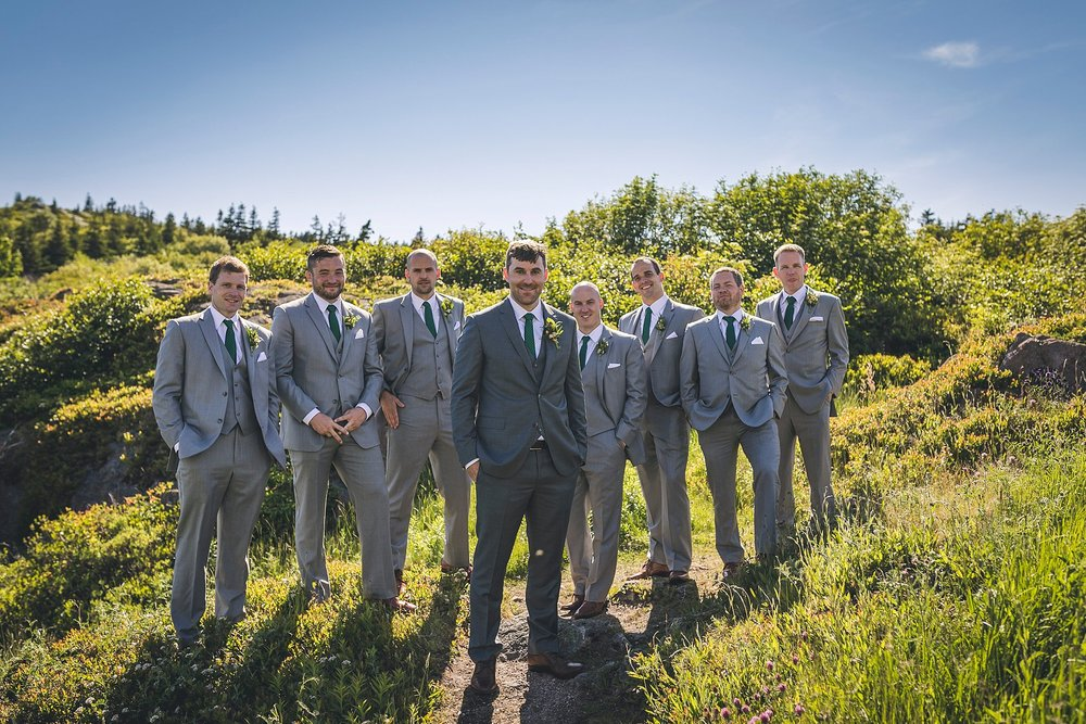 Groom and his friends in their Moores Clothing for Men suits during a St. John's, Newfoundland wedding.