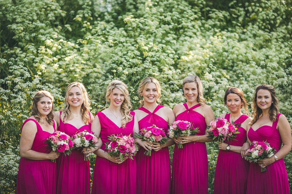 Bridesmaids pose for wedding photographs in Newfoundland