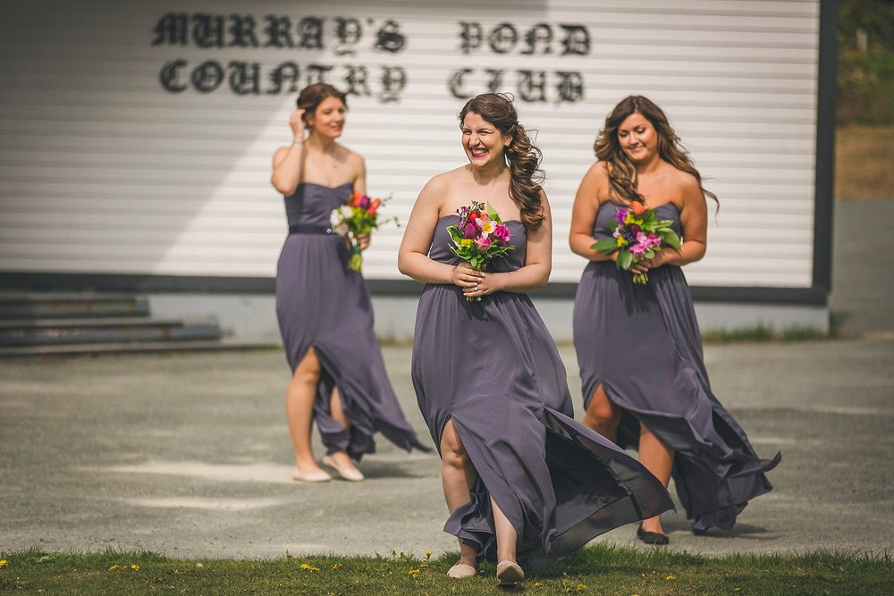 Bridal party during the outside wedding ceremony held at Murray's Pond in St. John's, Newfoundland