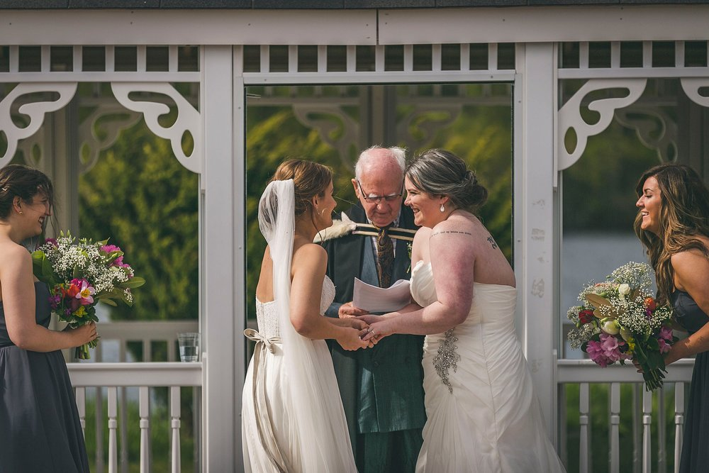 Vows during an outside wedding ceremony held at Murray's Pond in St. John's, Newfoundland