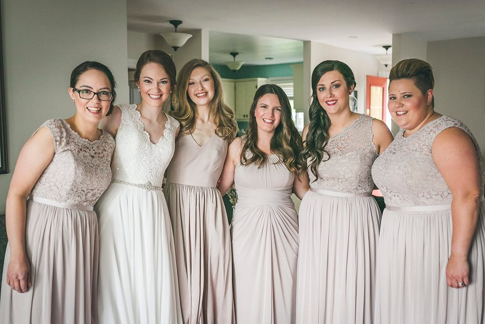 A bride and her bridesmaids before a St. John's wedding.