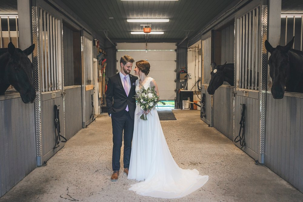 Bride and Groom at the RNC stables during their St. John 's, Newfoundland wedding