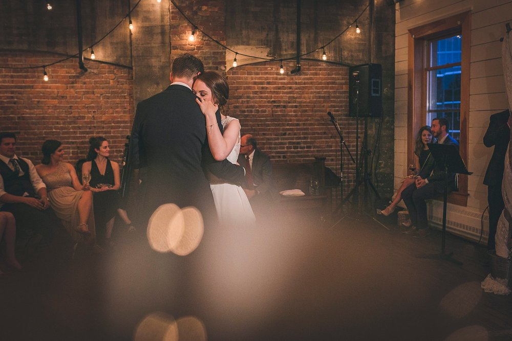 Bride and Groom share their first dance at The Rocket Room during their St. John's, Newfoundland wedding