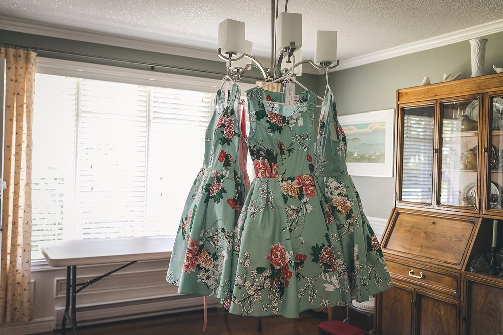 Bridesmaids dresses hang before the wedding in St. John's