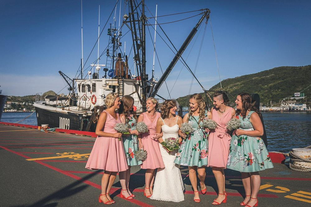 Bride and her bridesmaids before a St. John's, Newfoundland wedding