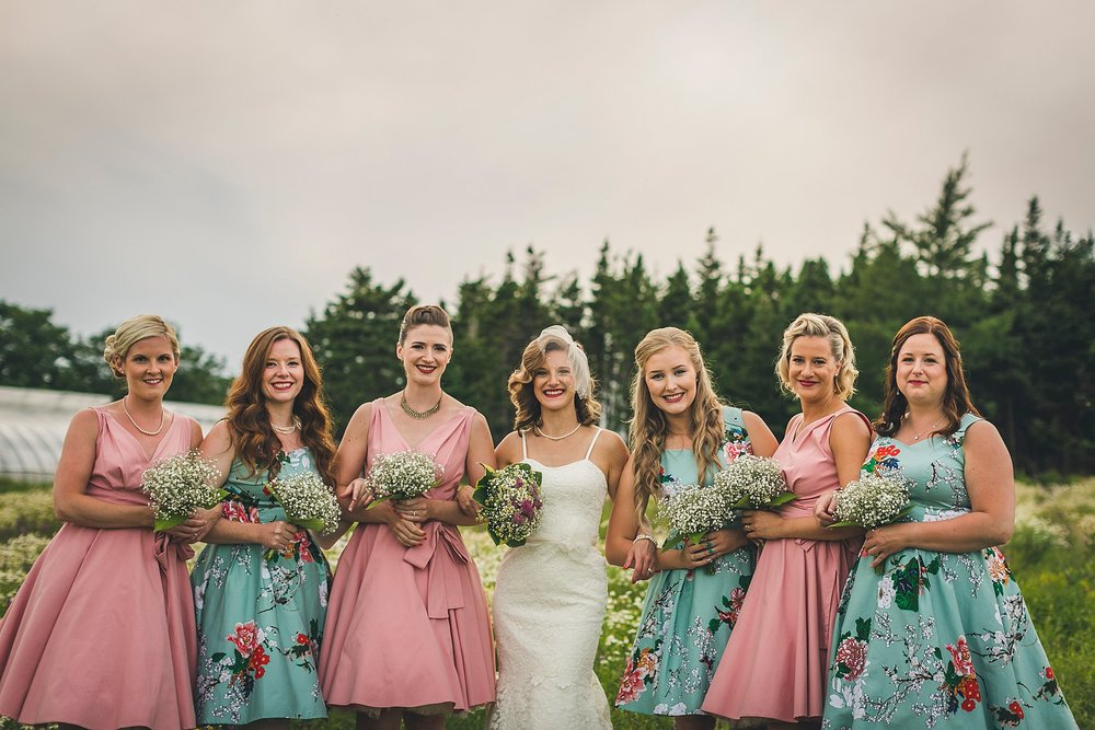 Bride and bridesmaids during a St. John's, Newfoundland wedding held at Lester's Farm