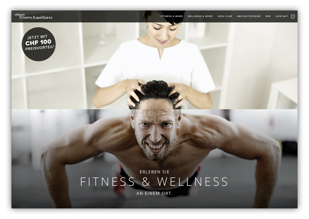 Webseite Sihlpark Fitness & Wellness