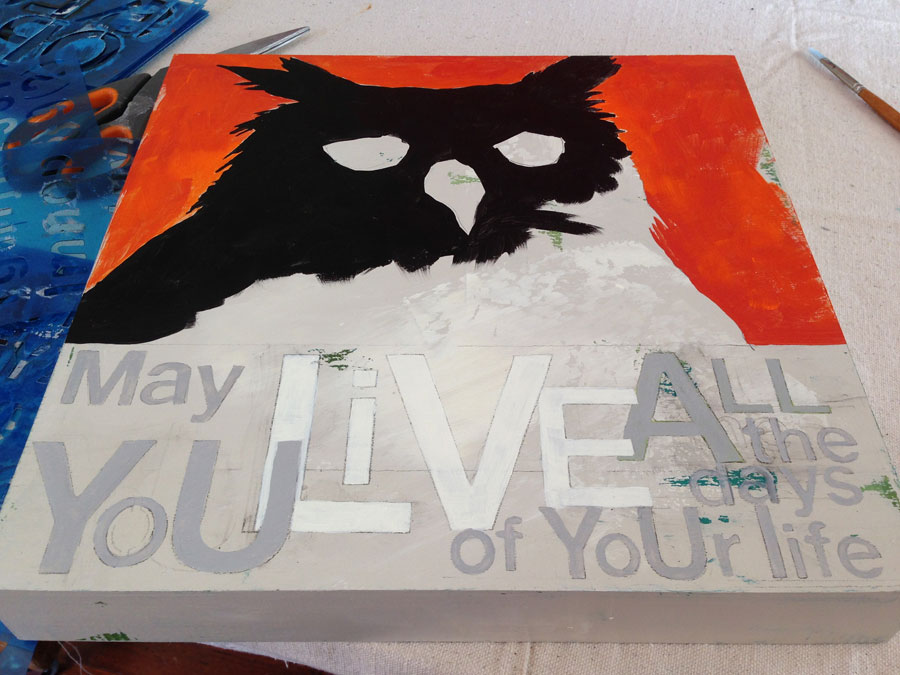 Just Starting Painting . . . laying in color and laying out text