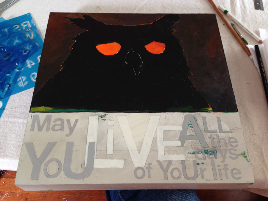 Painting the background and laying out owl details