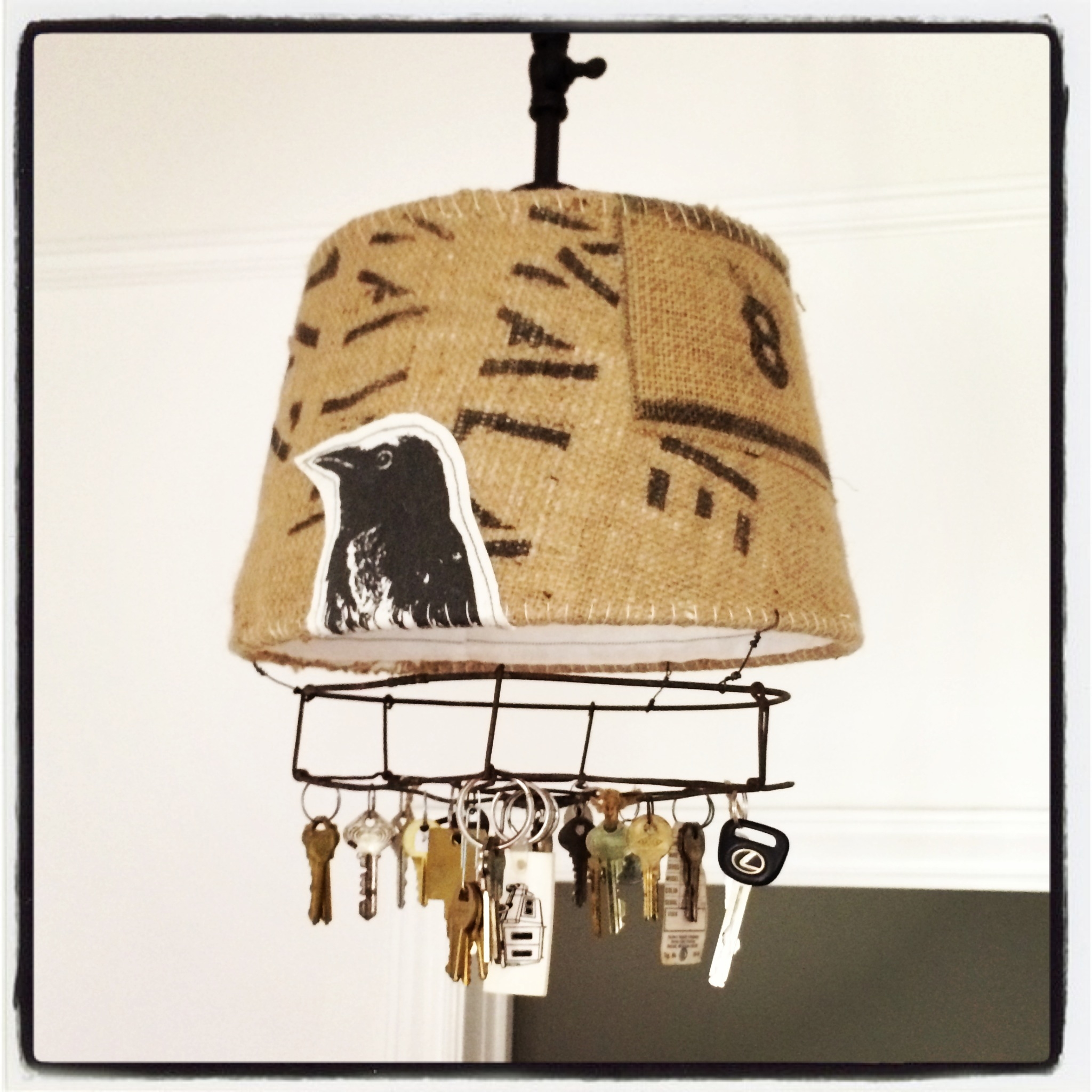 Coffee Sack, GE Fan, Old Keys and Original Artwork printed onto fabric