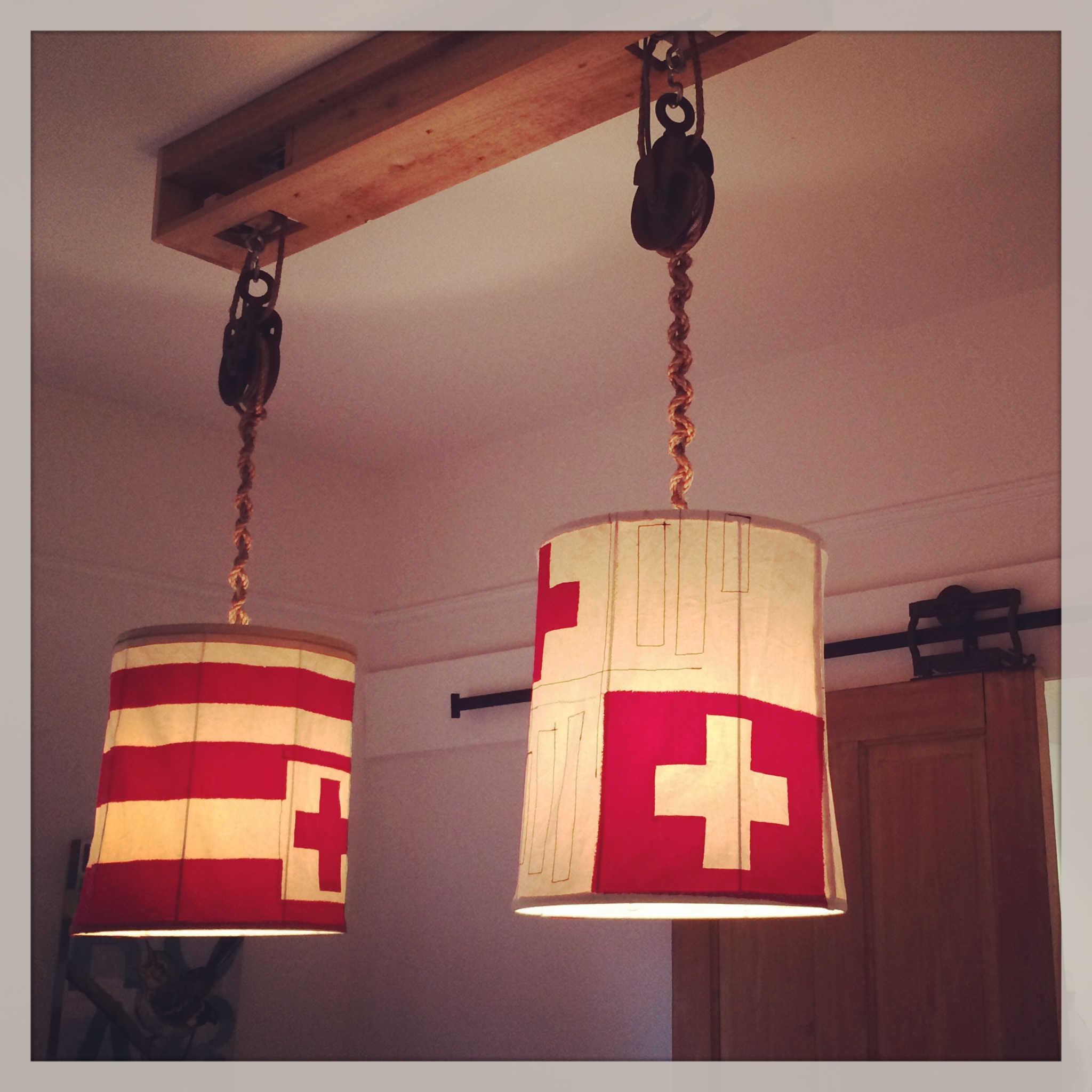 Both shades hung by a custom fixture at our studio