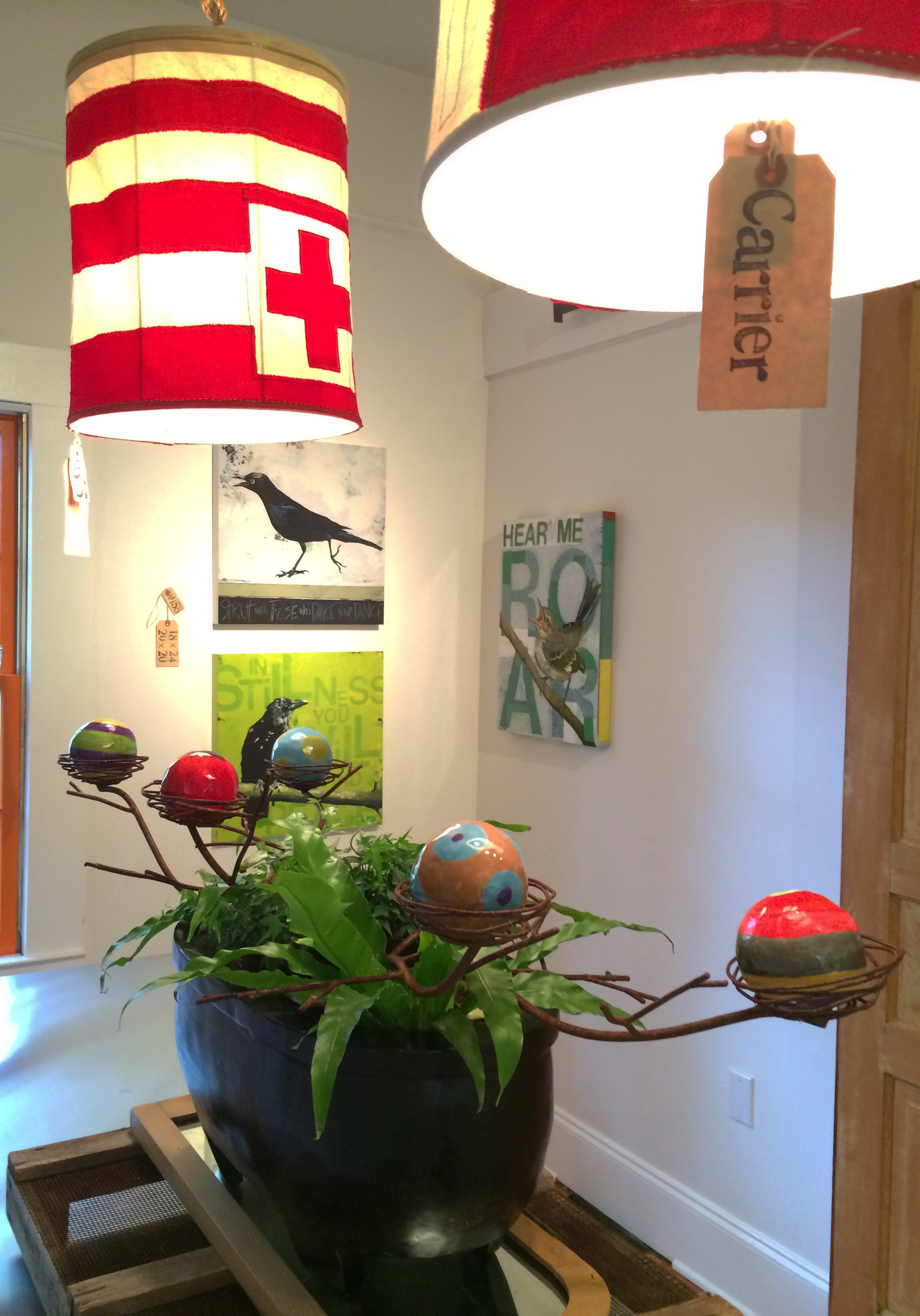 Shades with center piece at our Open Studios event
