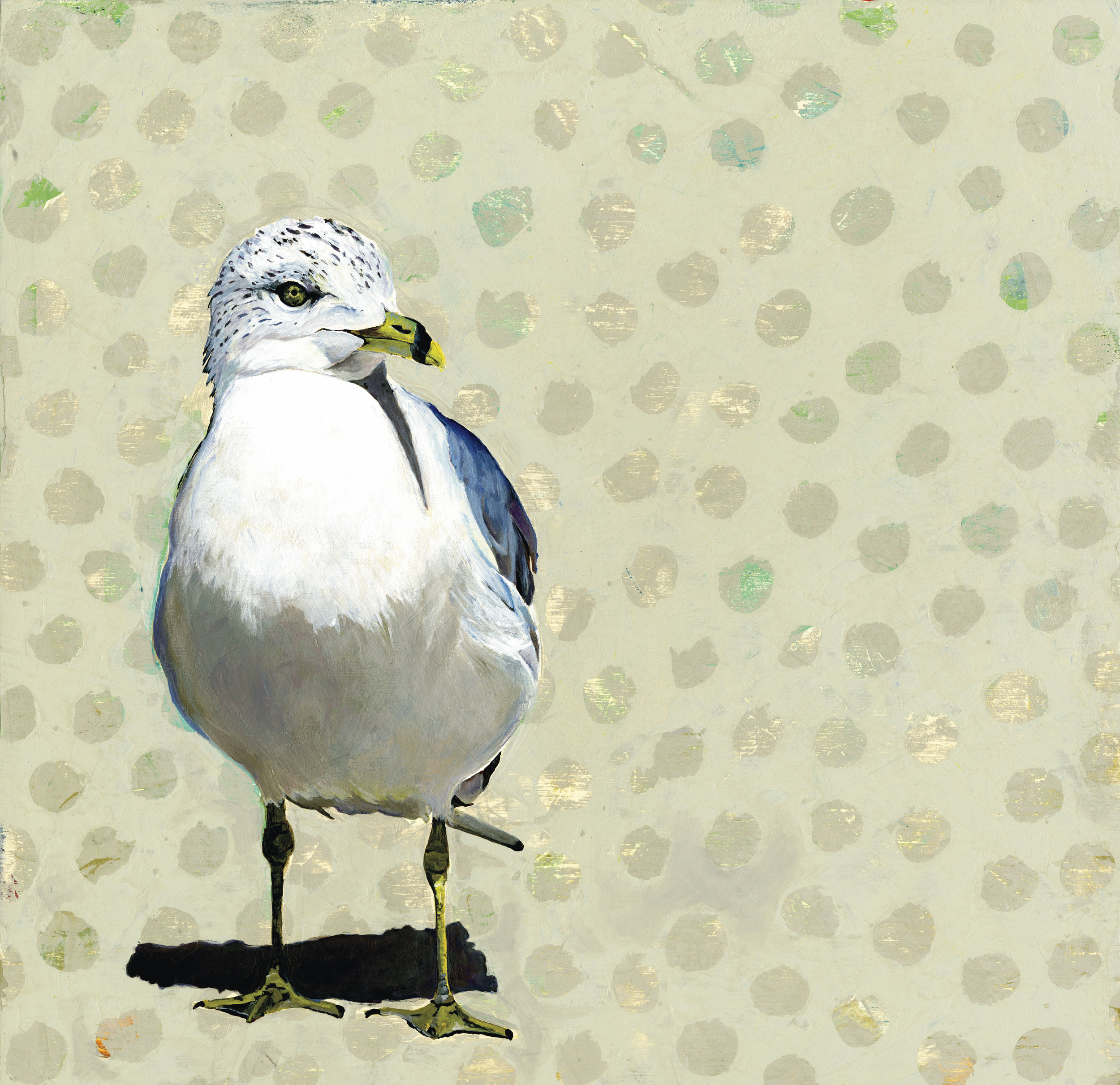 "Acrylic on Panel ""Polka Seabird"""