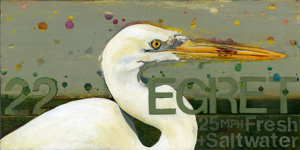 """Egret 22"" now available in a large Canvas Giclee!"