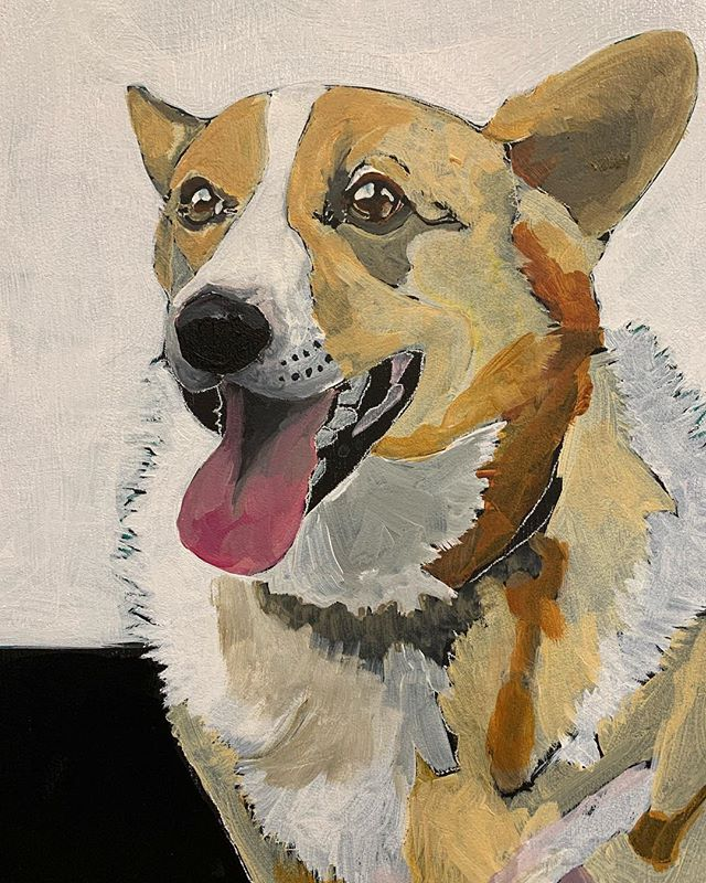 Laying in color #wip  #welshcorgi #pembrokewelshcorgi #familypets #original #acryic #angiecarrierart #painting #wallartdecor #interiors