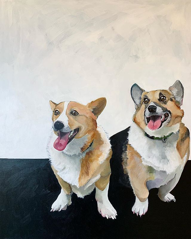 """Olive and Nash"" almost complete! #painter #painting #acrylicart #acrylicpainting #pembroke #welshcorgi #corgi #dogsrule #angiecarrierart #carriercollective #original #interiorart #wallart #dogslife🐶"