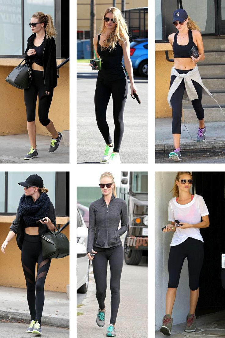 Rosie Huntington-Whitely is the queen of GYM FASHION. Whether she's rocking a pink glossy lip balm, or emphasizing her amazing physique with sexy capris, or donning a Givenchy purse post-workout, it's apparent that her effort to look gorgeous while in athletic mode is admirable and something we should emulate.