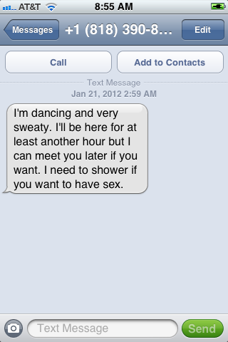 A text message I received at 2:59 AM, from a Los Angeles number which I do not recognize.