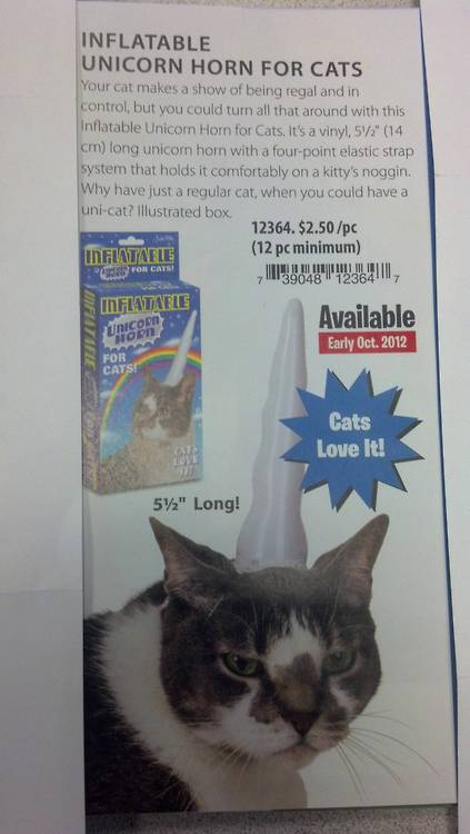 annotations :     I like that they're explicitly advertising the fact that the inflatable unicorn horn will humiliate your cat and take him/her down a peg or two.     Let's get real: this is obviously just a feline dunce cap.