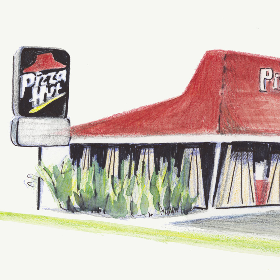 Franchises, 2016  A series of drawings of American fast food chains; some of the works depict the first of their kind, others the most typical. The drawings address the American obsession with the hyperreal and our celebration for the sign of something over the real thing. Pediments, cupolas and clapboard sides attached to stucco boxes symbolize the American tendency to deceive ourselves in the hopes of feeling better.