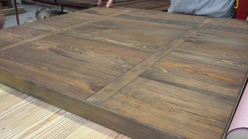 Reclaimed wood tables w/ metal inlay - for Morel Resturant - Wood & Iron Shop Creations — Milwaukee Wood & Iron