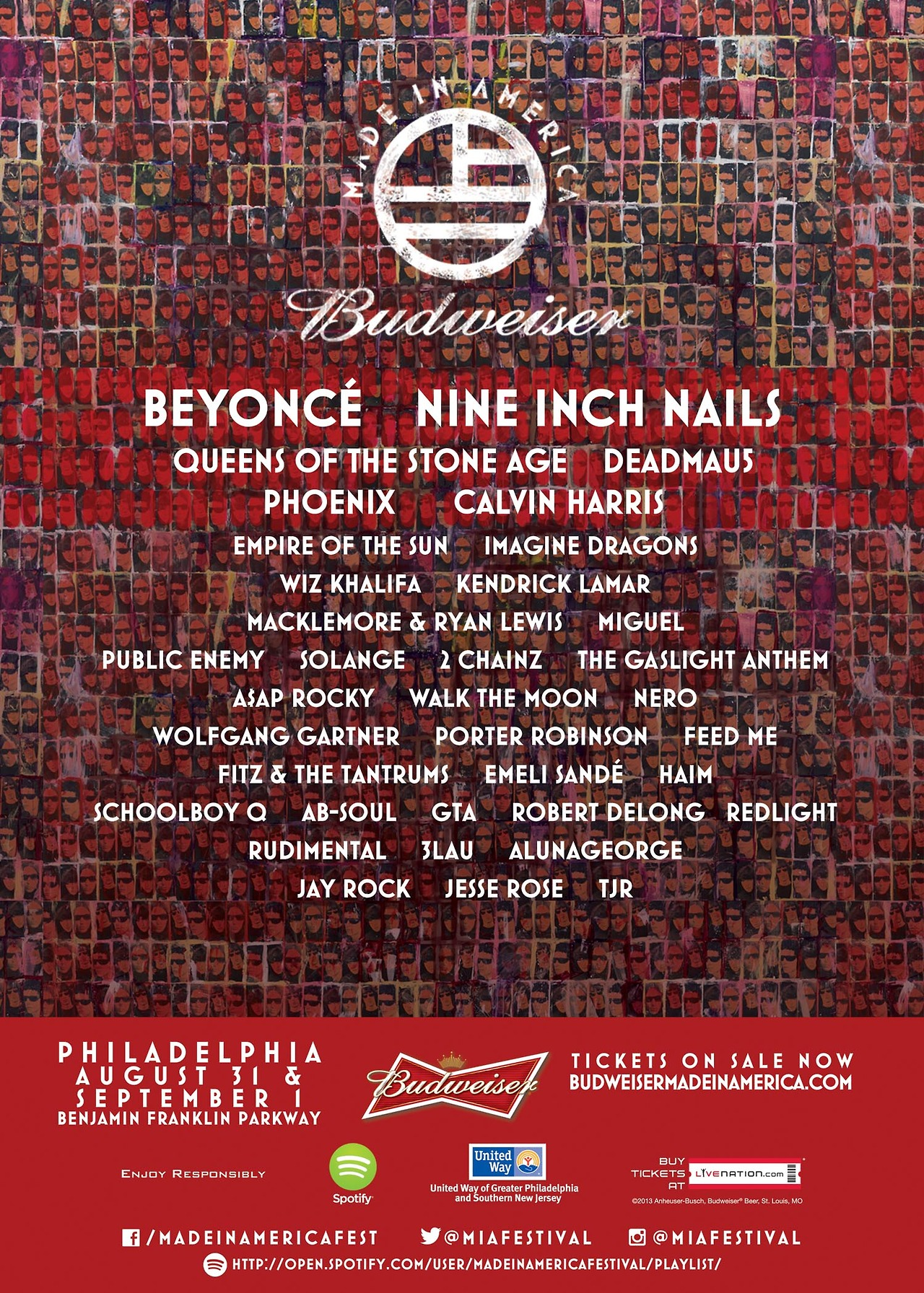 Dang, I kinda wanna go to Philly for this…Jay-Z has done it again with a BOSS lineup for the  Made In America  festival. It will take place in Philly on August 31st and September 1st. The premiere of this festival was a success last year and it looks to do well this year with performers like TDE, A$AP Rocky, Beyonce, and many more. Enjoy.   -HB