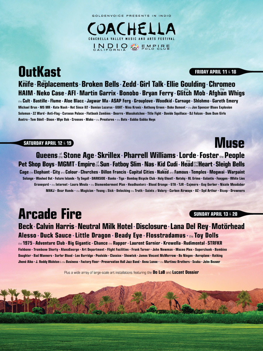 Coachella revealed the lineup for this year's festival and as expected, OutKast is confirmed to reunite as THE headliner for the festival. The show is sold out, so prepare to find tickets through some different channels if you're tryna go. Enjoy.   -HB