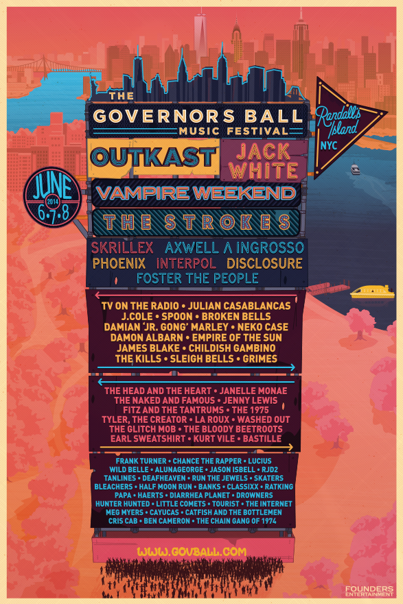 Tickets are on sale now for The Governor's Ball Music Festival which takes place on Randall's Island in New York City from June 6th-8th. Some notable performers are OutKast, Jack White, J. Cole, Childish Gambino, and more. Hit up the website in the photo to buy tickets. Enjoy.   -HB