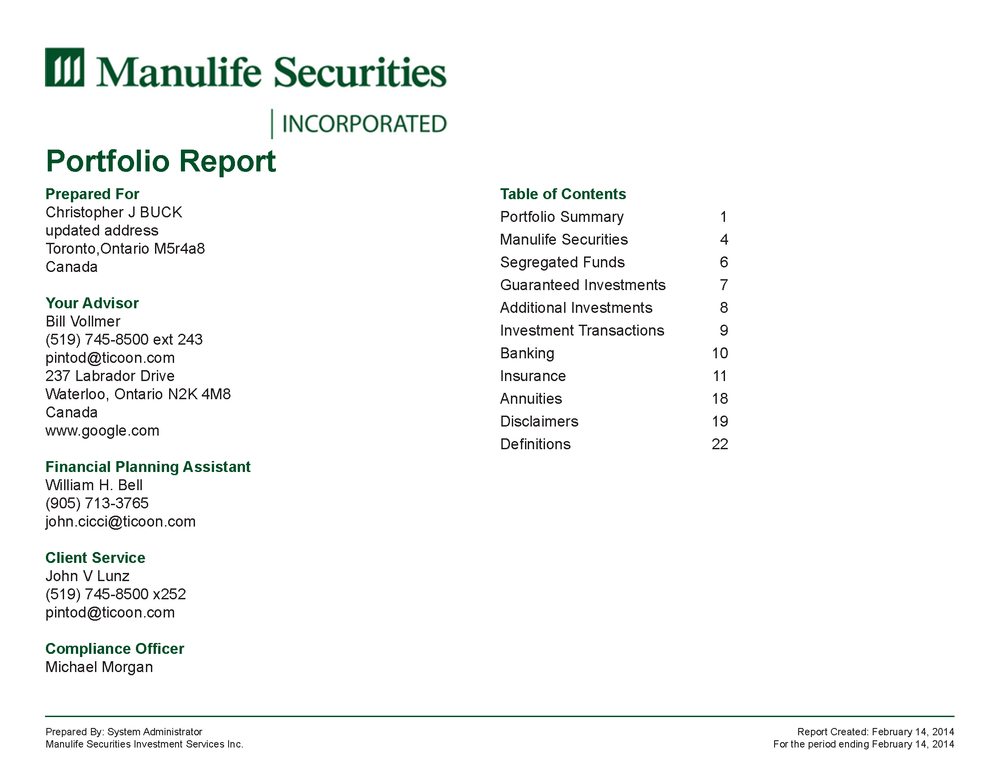 Redesigned Manulife Report