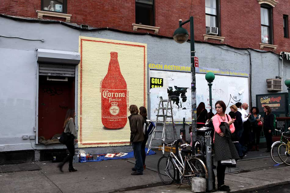 Painted mural of the bottle in Williambsburg, Brooklyn.