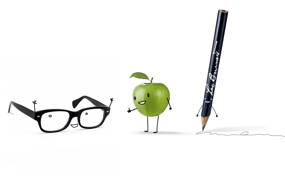 The three Leo Burnett icons which would relay all the new information about the upcoming intranet transition. The glasses served as our IT companion, the apple as our guide, and the pencil as comic relief.