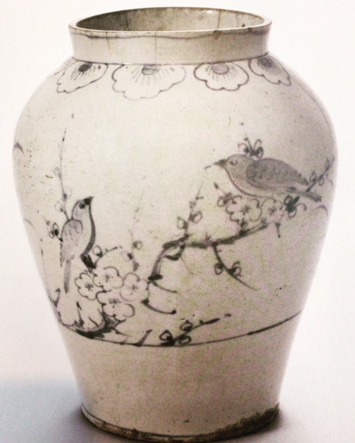 White Porcelain Vase with Cobalt-blue Plum blossom and Bird Design, (Korea, xxxx)Mingeikan, Tokyo