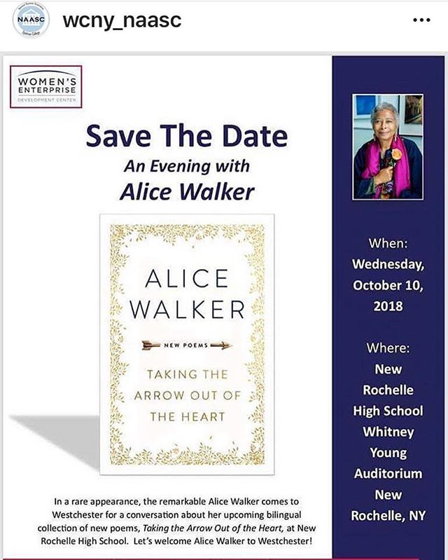 Save the Date: our Westchester sisters are hosting an evening with #AliceWalker 💙 follow them for more details @wcny_naasc