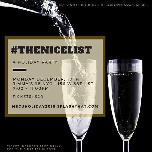 TOMORROW! Come out to our Holiday Party! Get tickets with the link in our bio 🖤. The first 125 people will receive a FREE DRINK 🥂