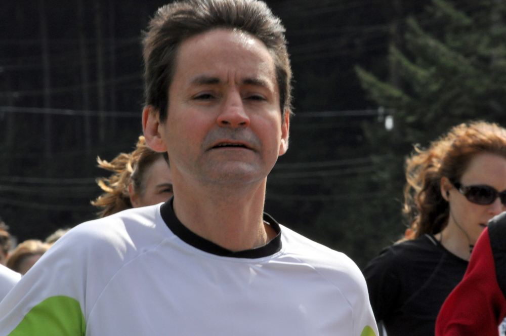 Claude racing the Sooke 10km race (Island Series) - April 2014