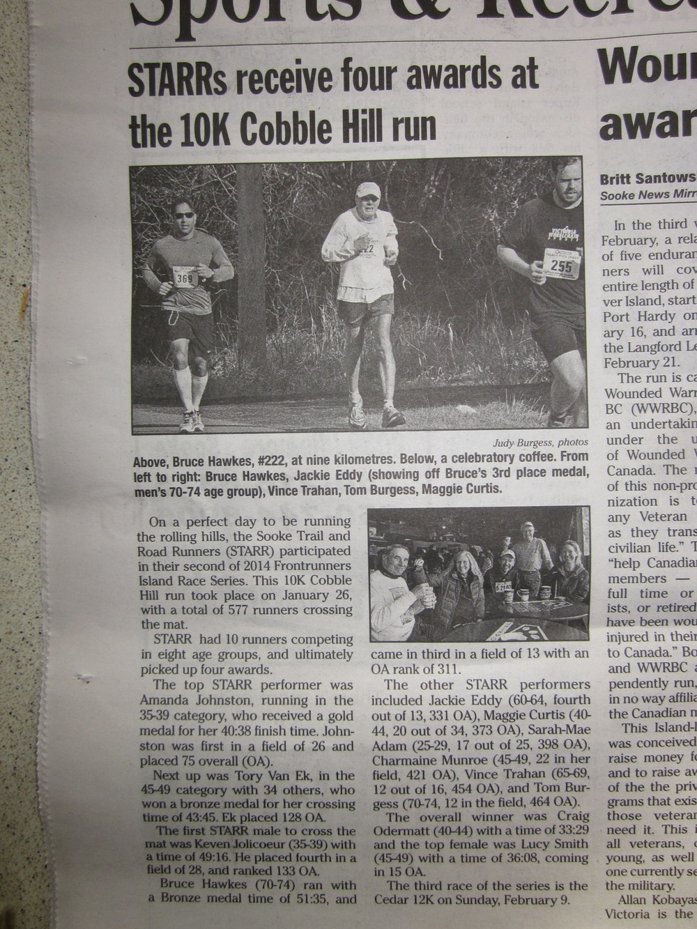 Jan. 2014 - Starr race report in the Sooke Mirror News