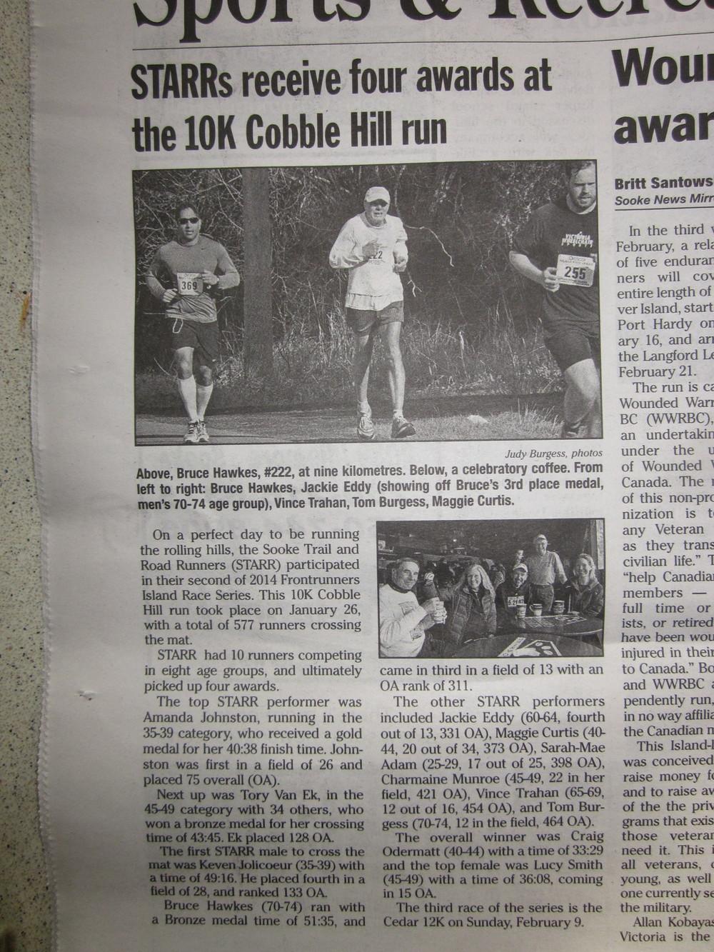 Jan. 2014 - Starr race report in the Sooke Mirror News