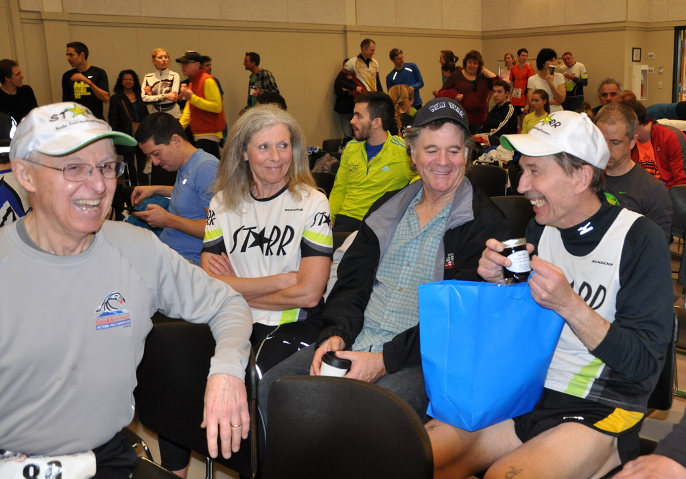post race - waiting for the awards presentation: Tom, Jackie, Danny and Vince