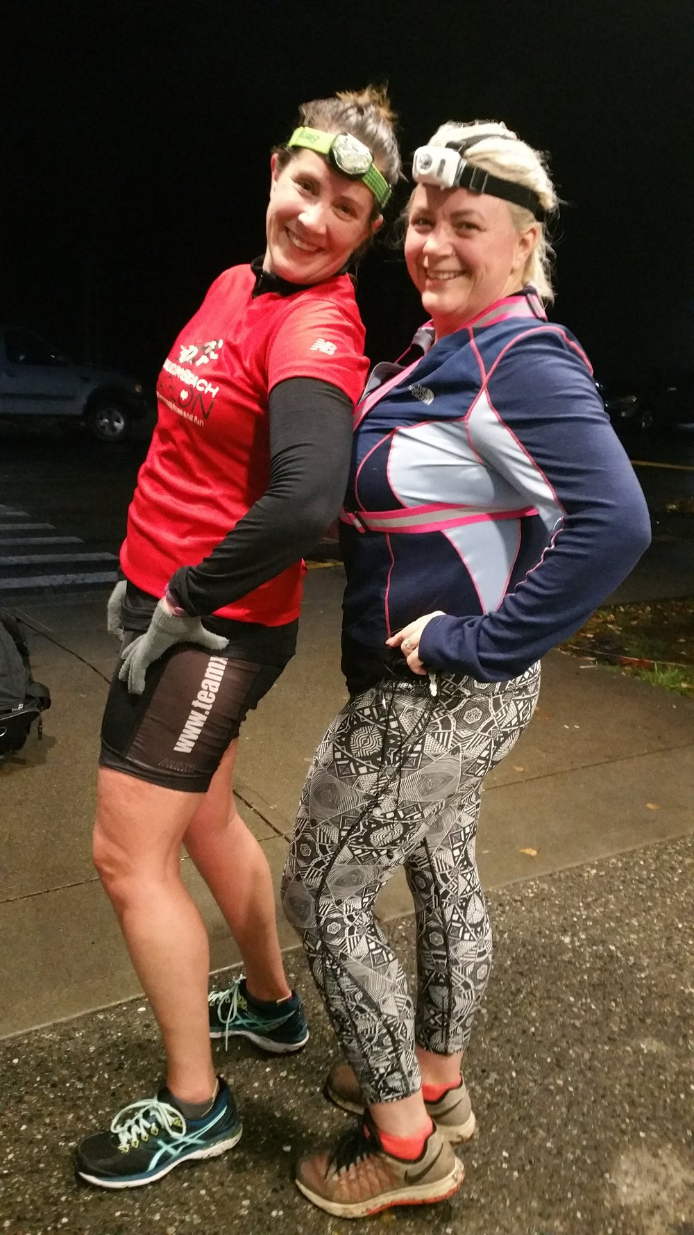 Teresa and Megen ready for a night run!