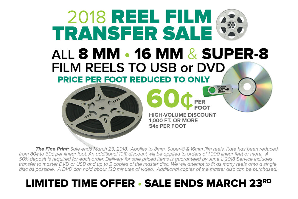 Not sure how many feet of film that you have? Click here to see an 8mm & Super-8diagram showing common reel lengths.