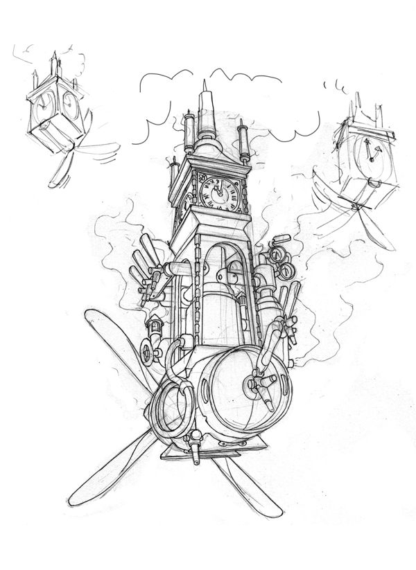 Blue print of the flying steam clock with keg attached by James Ng for Steamworks Pale Ale.