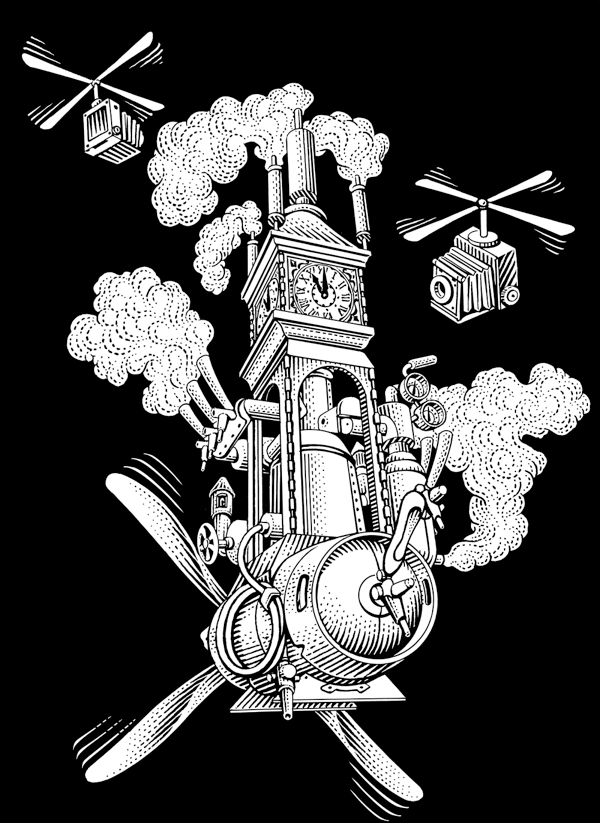 Etched illustration of the flying steam clock with keg attached by Michael Halbert for Steamworks Pale Ale.