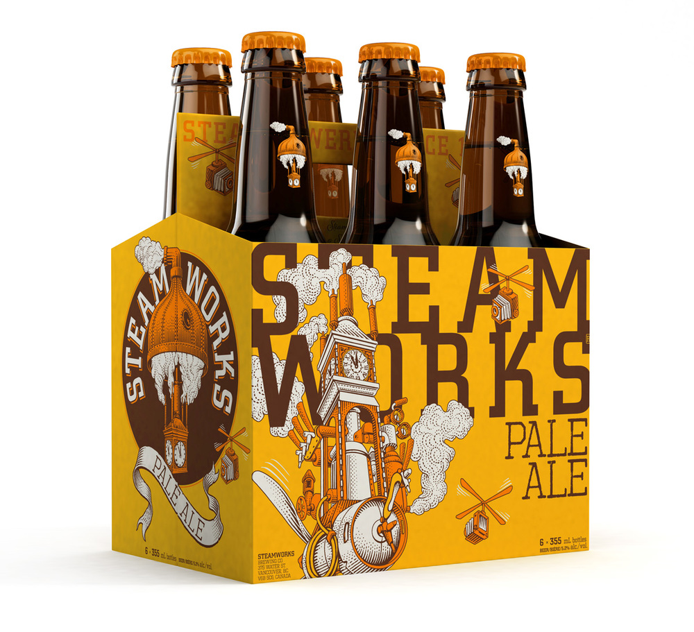 Final product and 3D render by Paul Sherstobitoff for Steamworks Pale Ale.