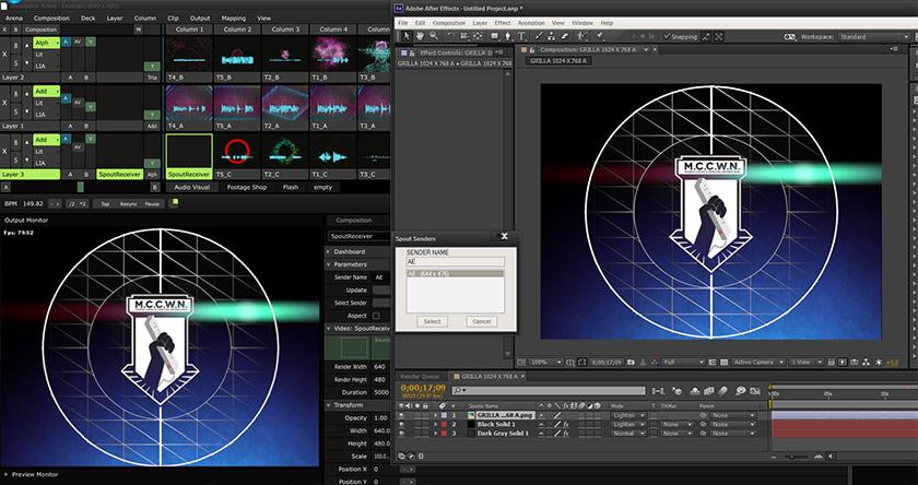 透過Syphon 軟體進行 After Effects 與 VJ 軟體 Resolume螢幕分享。