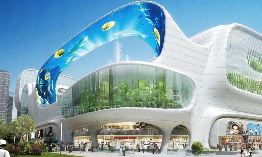 購物商場有一個巨大的垂直水族館,LED天篷和乘坐纜車。