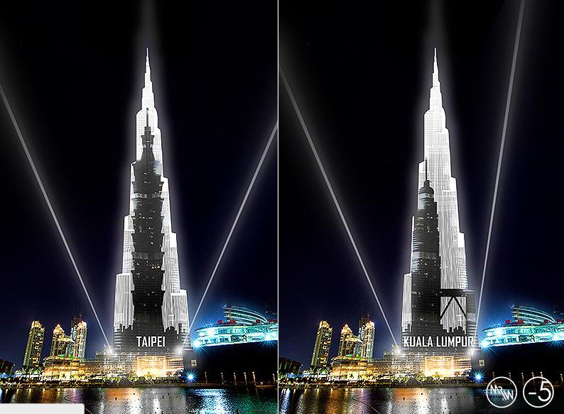 展示來自世界各地的標誌性建築專業的輪廓。 輪廓會慢慢滾動,讓觀眾第一次有機會看到選定的世界著名的建築物之間的高度真正的差異,與哈利法塔高達828米的高度相比。