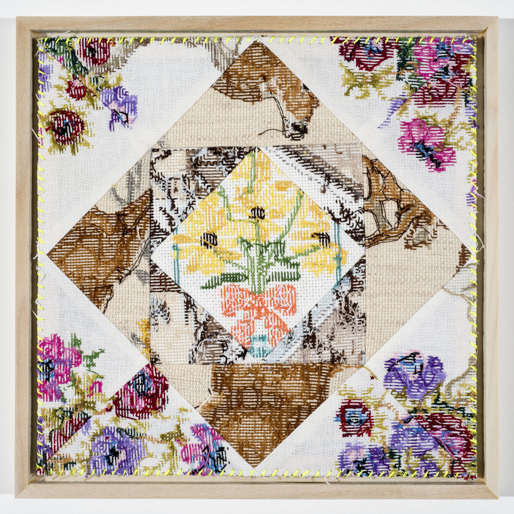 "Quilt Study 14 – Stop and Eat the Flowers Found Embroidery, Aida 10"" x 10"" 2017 $600"