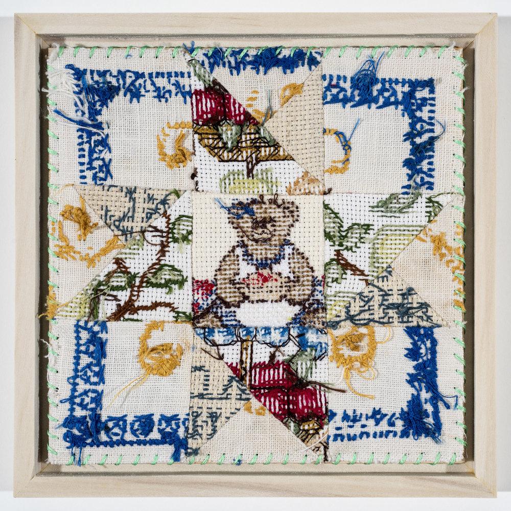 "Quilt Study 10 – Funshine Bear Found Embroidery, Aida 6"" x 6"" 2017 $200"