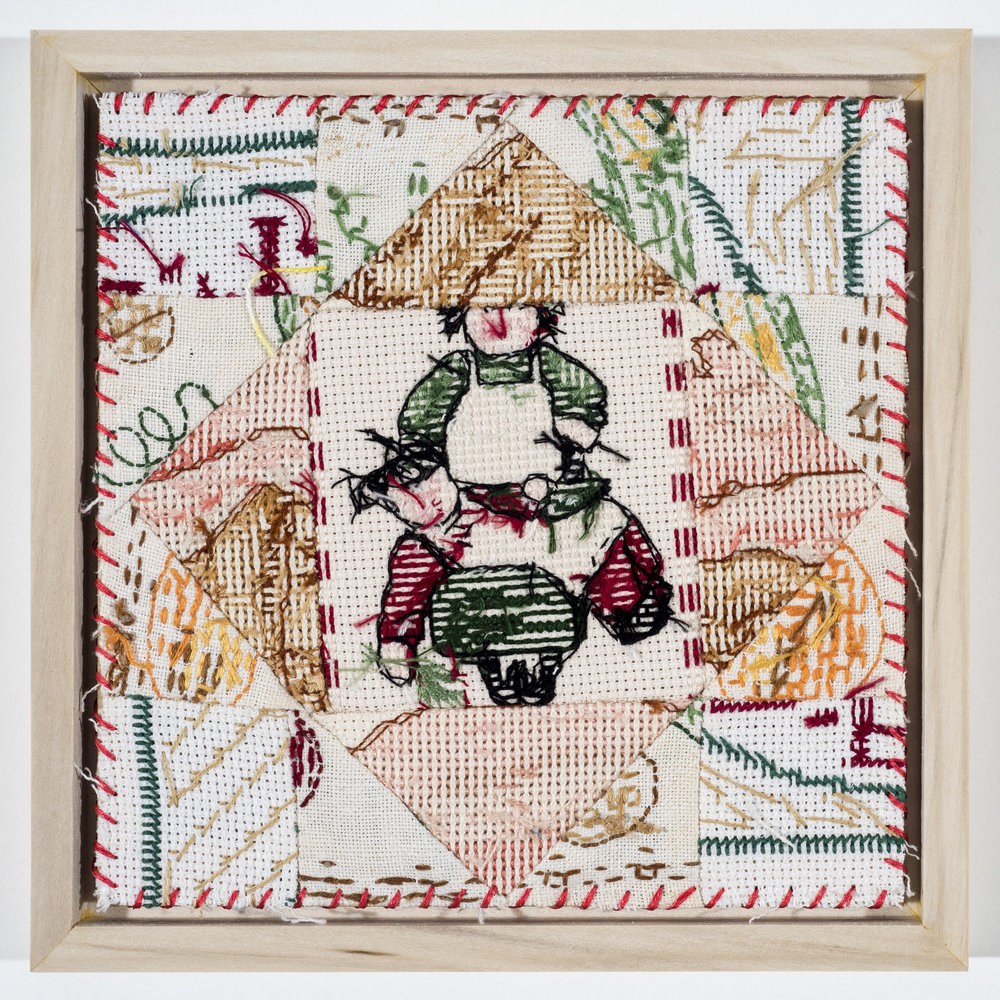 "Quilt Study 11 – Not Genesis 22 Found Embroidery, Aida 6"" x 6"" 2017 $200"