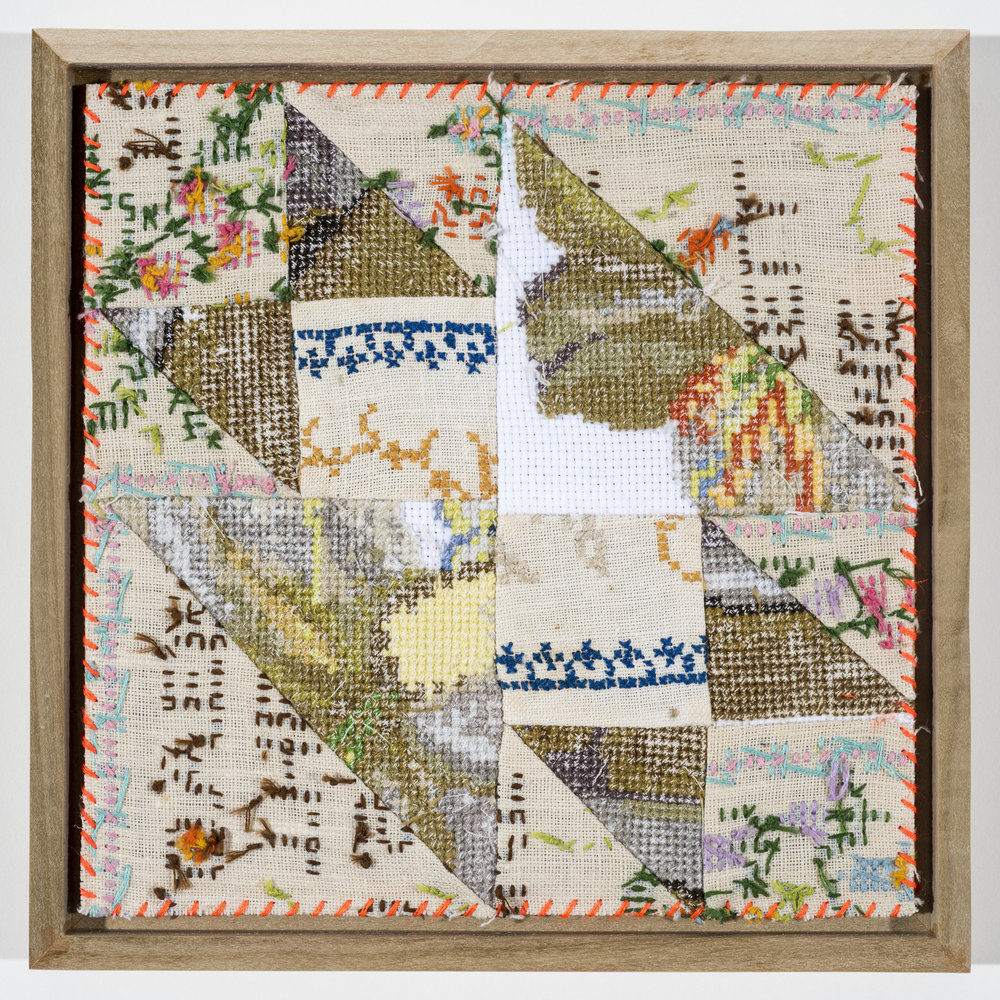 "Quilt Study 8 – Anvil Found Embroidery, Aida 8"" x 8"" 2017 $250"